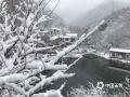 今天(9日)早上,北京门头沟、怀柔、房山等地出现四月飞雪,一派银装素裹的景象,?#36335;?#31359;?#20132;?#20102;冬季。图为门头沟双塘涧。(于广云 摄)