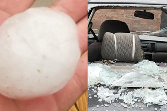 大风¤冰雹突袭广西 屋顶�槿朔浅j��U狡�p车窗全被砸破