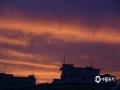 中国天气网讯 今天(22日)傍晚,北京天空出现超美晚霞,天空被染成一片橙红色,云舒霞卷,异常美丽。(图/王晓)