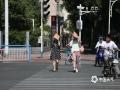 22日下午3点,河北石家庄槐安路与体育大街交口,户外气温38.4℃,外出市民用纸袋遮阳。(图/刘琦)