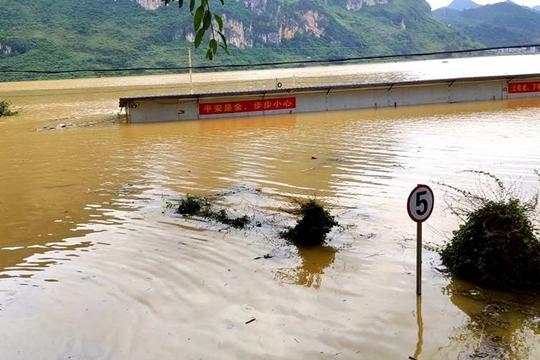广西凌云连遭强降雨 淹没房屋大量农作物受灾