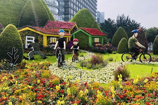 北京街头布置一新 花团锦簇喜迎国庆
