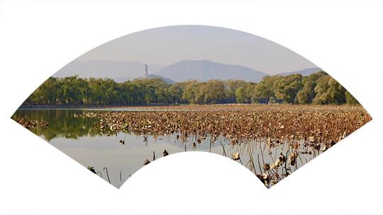 山水扇面:秋紅點綴頤和園西堤