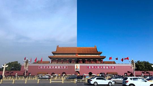 冷空气前后北京地标上空对比醒目