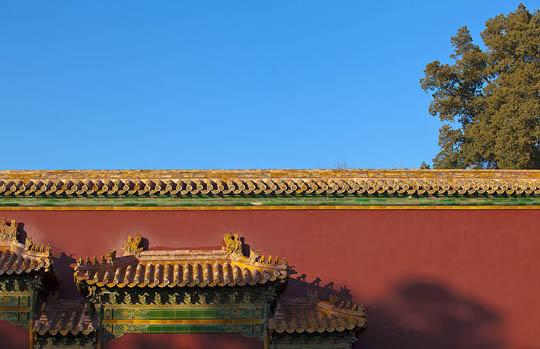 红墙黄瓦映蓝天 树影残枝古宫墙