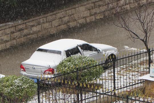 山东烟台降下雨夹雪 防疫人员雨雪中坚守岗位