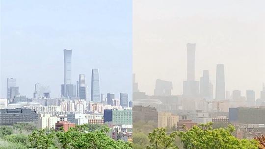 镜头记录北京沙尘过境天空变化