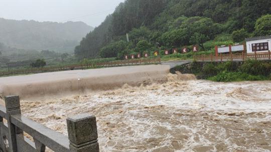 """台风""""黑格比""""携风雨袭浙江 水位上涨"""