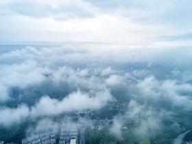 航拍廣西南寧 空中視角看云海壯觀