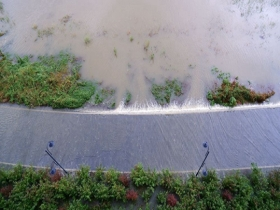 松花江哈尔滨段水位持续上涨 沿江公园关闭