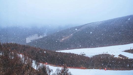 河北崇禮降入冬首雪 滑雪愛好者雪中馳騁