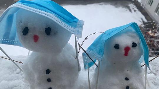 內蒙古下雪了 一組圖看形態各異的雪人