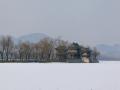 北京頤和園昆明湖積雪未融 平整如白毯