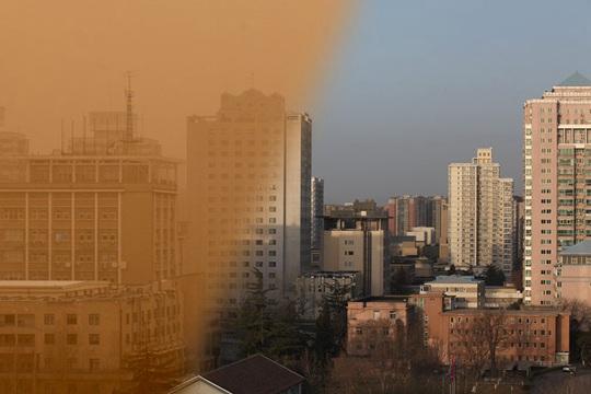 一组图看北京沙尘前后天空对比