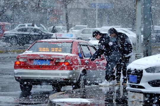 黑龙江大庆白雪纷飞迷人眼 出行受影响