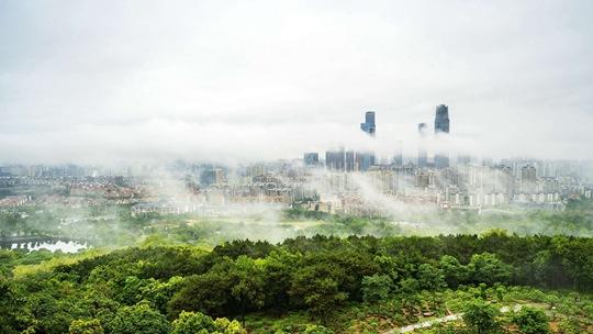 广西南宁雾气缭绕 绿树掩映美如画
