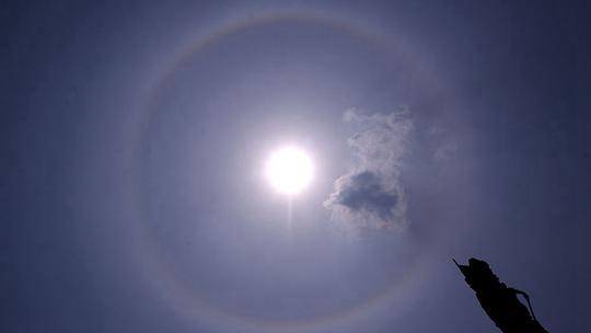 太阳自带光环 威海哈尔滨两地现日晕景观