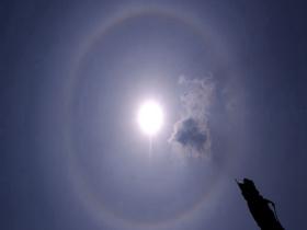 太阳自带光环 威海哈尔滨两地上空现日晕景观