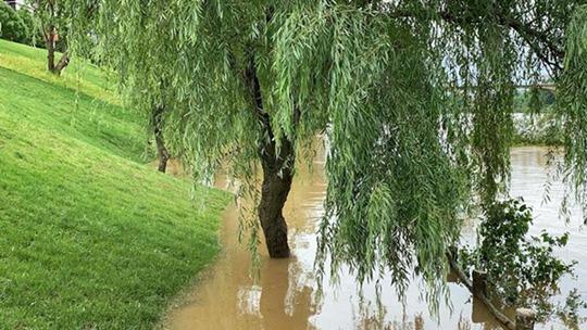 江西多地遭受強對流天氣襲擊 水位上漲公路被淹