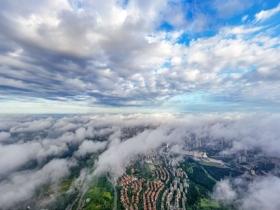 张张大片!航拍视角看广西南宁日出云雾美景