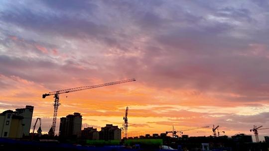 北京晚霞绚烂 如油画般美丽