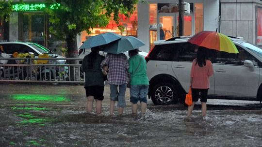 河南汝州雨瓢泼 路上行走如趟河