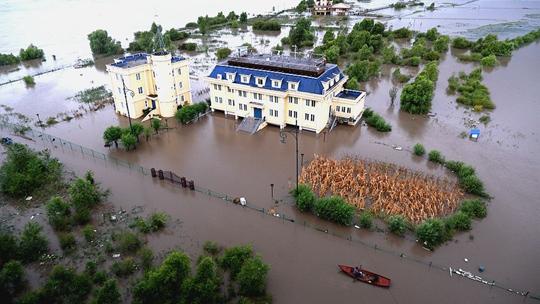 松花江2021年第1号洪水来袭 哈尔滨段部分沿江地带被淹