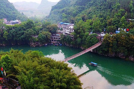 航拍河池龙洲岛春景