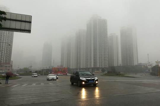 来宾市区出现雨雾天气