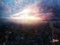 图为横县城区上空航拍日出美景。(文/黄庆平 图/卜军波)
