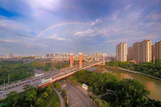钦州清晨彩虹高挂