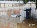 中国天气网广西站讯 7月3日,受上游来水和区间降雨共同影响,柳州市区河段出现今年首个洪峰水位。早上09:05,柳州水文站电子屏显示水位为83.08米,超警戒水位0.58米。柳江水漫上滨江西路广雅大桥下方低洼路段,滨江东路的店铺也被河水淹没了一半,有车辆被淹至只剩车顶露出水面。(文/陈成 图/李羿树)