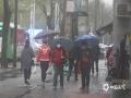 受強冷空氣影響,昨夜今晨,河北中南部大部地區出現降雨天氣,氣溫全面下降。早晨時段,河北石家莊雨勢加大,路面濕滑,早高峰時段交通出行受到影響。圖為石家莊市民打傘出行(圖/劉琦)