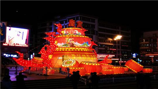康定情歌城春节临近的夜色