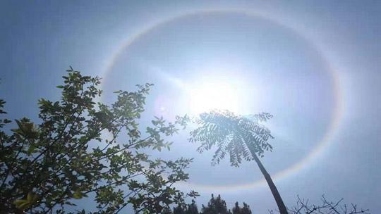 凉山喜德现日晕奇观 七彩光环清晰可见